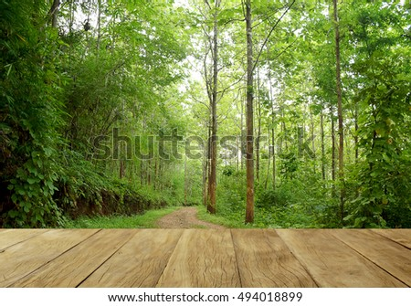 Empty top wooden table on green forest
