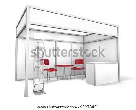 Empty trade event stand with chairs, table and brochure display. 3D rendered illustration - stock photo
