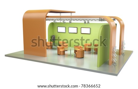 Empty trade exhibition stand. 3D render. - stock photo