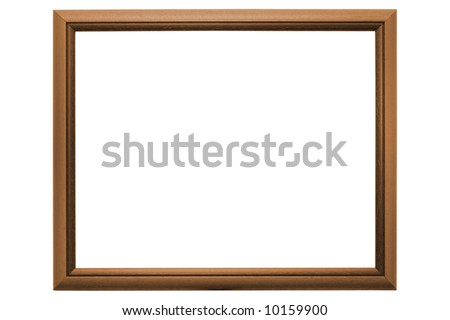 Empty traditional picture frame isolated on white with clipping path - stock photo