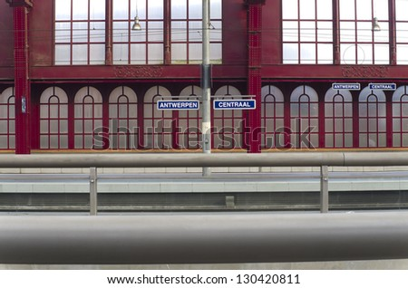 empty train platform in the famous Antwerp main railway station. In 2009 the American magazine Newsweek judged Antwerpen-Centraal the world's fourth greatest train station. - stock photo