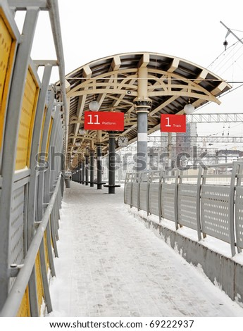 Empty train station in winter