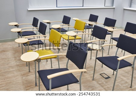 Empty training class with modern chairs