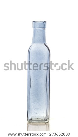 Empty transparent glass bottle Isolate on white background - stock photo