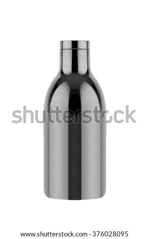 empty transparent glass bottle with cap - stock photo