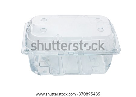 Empty Transparent Plastic Container on White Background - stock photo