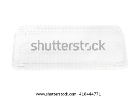 Empty transparent plastic storage box of food package on white background - stock photo