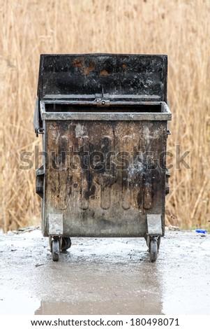 empty trash dumpsters - stock photo