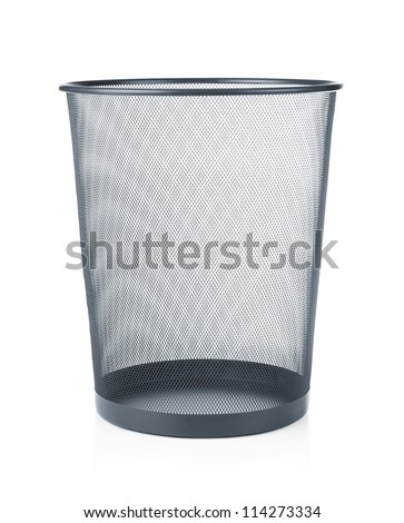 Empty trash, garbage bin isolated on white background