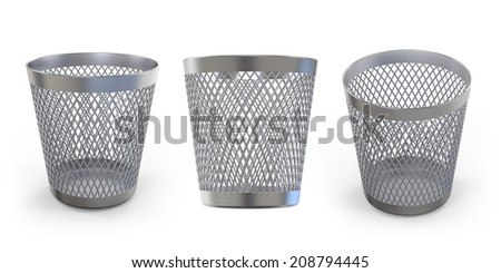 Empty trash metal can, garbage bin isolated on white background.Easy editable for your design.  - stock photo