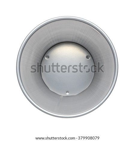 Empty trash - top view, clean garbage bin, metal basket bin for waste paper in office, Empty rubbish for wastepaper or junk - stock photo