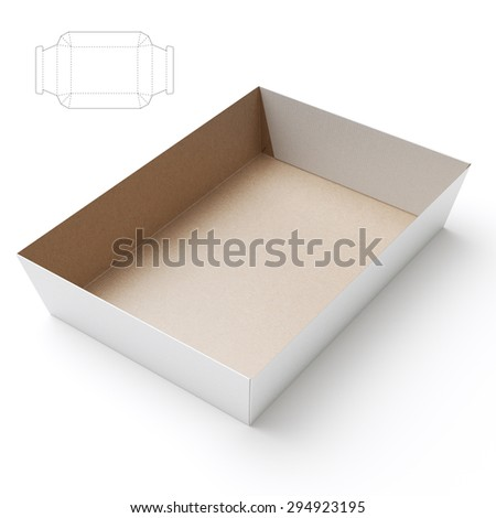 Empty Tray Box with Blueprint Die Line
