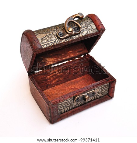 empty treasure box on white background