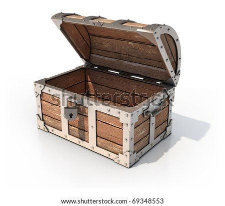 empty treasure chest 3d illustration - stock photo