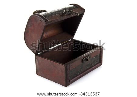Empty Treasure Chest  isolated over white background - stock photo