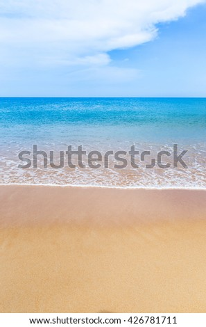 Empty tropical beach and sea and blue sky in Thailand