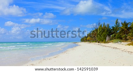 empty tropical beach in the bahamas - stock photo