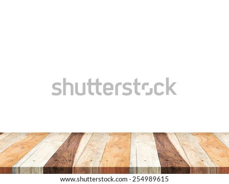 Empty tropical wooden table top isolate on white background, Leave space for placement you background,Template mock up for display of product - stock photo