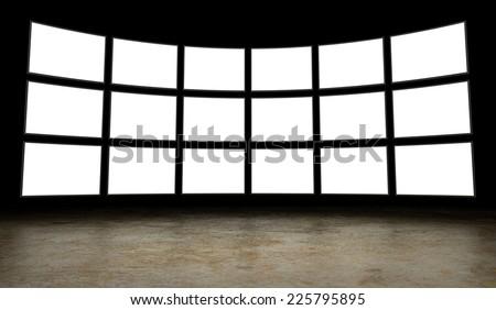Empty tv screens - stock photo