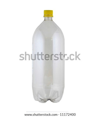 empty two liter bottle on white - stock photo