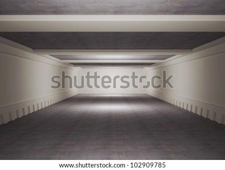empty underground floor with balks, warehouse space - 3d illustration - stock photo