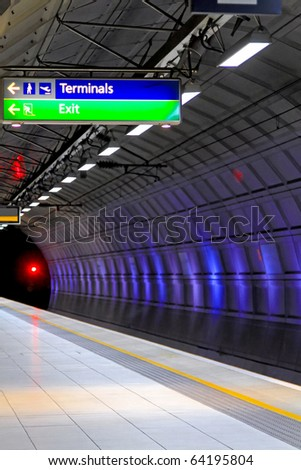 Empty underground station platform in London city - stock photo