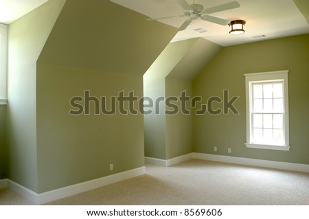 empty upstairs bedroom, place your own furniture - stock photo