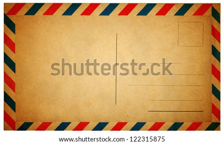 Empty vintage air mail envelope isolated on white - stock photo