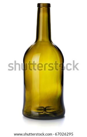 Empty vintage bottle. Isolated on white background - stock photo