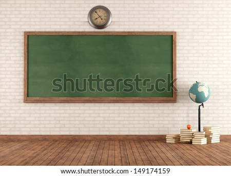 Empty vintage classroom with green blackboard against brick wall - rendering - stock photo