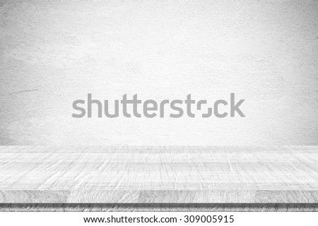 Empty vintage grungy white cement wall background texture, retro pattern banner - stock photo
