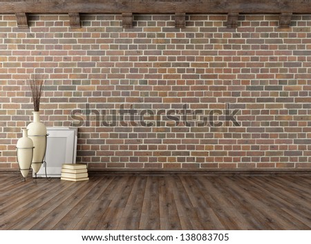 empty vintage interior with brick wall and wooden ceiling beams - rendering - stock photo