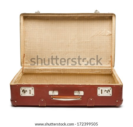 Empty vintage open suitcase on white background - stock photo