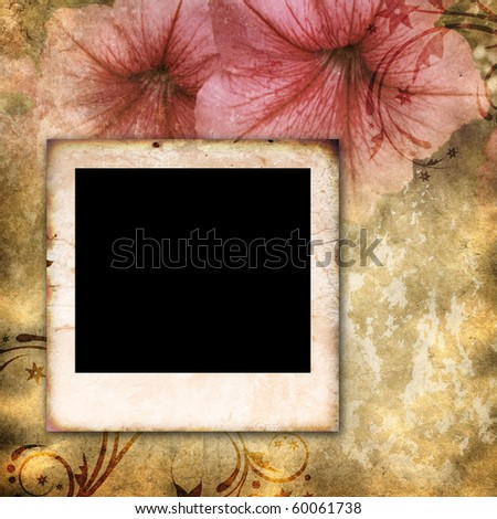 empty vintage photo frame on floral background