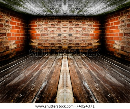 Empty vintage room interior, wooden floor, red brick wall and concrete ceiling. - stock photo