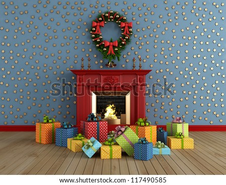 empty vintage room with red classic fireplace and colorful gift - rendering - stock photo