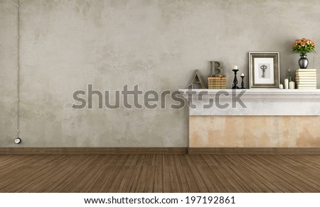 Empty vintage room with shelf in masonry - rendering - stock photo