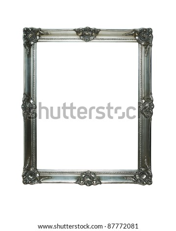 Empty vintage silver frame with clipping paths for the inside and outside - stock photo