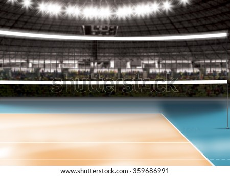 Empty volleyball court - stock photo