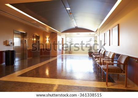 Empty Waiting Room In Modern Hospital - stock photo
