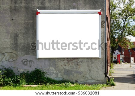 empty wall advertising panel