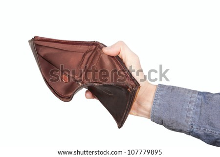 Empty wallet and a centime. On a white background. - stock photo