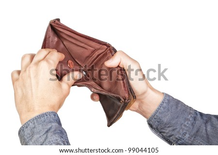 Empty wallet in his hands. On a white background. - stock photo