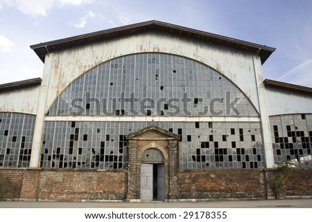 Empty warehouse front view - stock photo