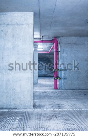 Empty warehouse room with concrete walls and floor. and pink - stock photo