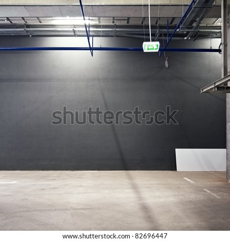 Empty warehouse wall, can be used as industrial background - stock photo