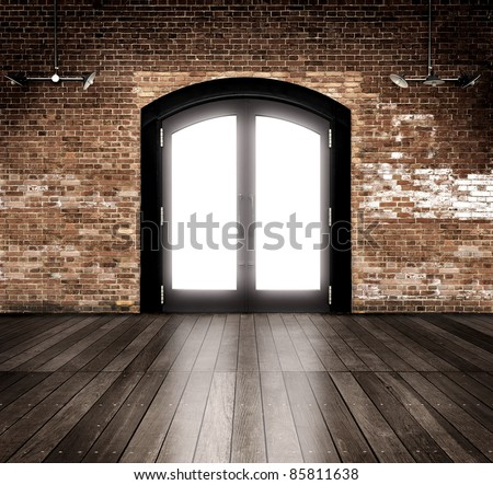 Empty warehouse with entrance. - stock photo