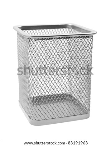 Empty wastepaper basket isolated on a white background
