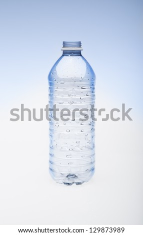 Empty water bottle without cap. - stock photo