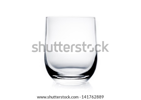 empty water glass on white background - stock photo
